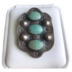 Early Fred Harvey Era Turquoise Silver Dress Clip