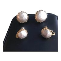 Two Pair of Miriam Haskell Faux Pearl Button Earrings