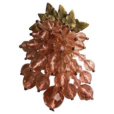 Miriam Haskell 1930's Pink Crystal Bead Dress Clip