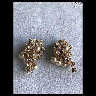 Vintage Miriam Haskell Faux Pearl Rhinestone Earrings