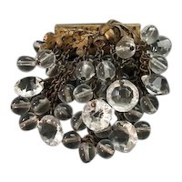 Early Miriam Haskell Crystal Acorn Design Brooch