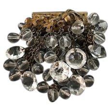 Early Miriam Haskell Crystal Acorn Design Brooch