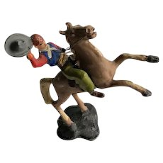 Metal Hand Painted Cowboy Broncho Rider Figure 1950's