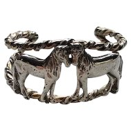 Vintage Sterling Horse Cuff by Choctaw Gale Self