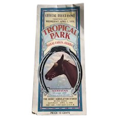 Horse Racing Program Tropical Park Florida 1936