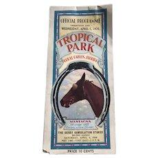 Horse Racing Program Tropical Park Florida 1936