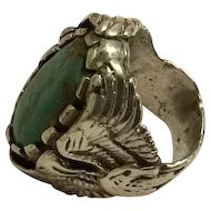 Early Navajo Handcrafted Silver and Turquoise Eagle Ring