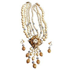Miriam Haskell Huge Faux Pearl Necklace Earring Set 1970's