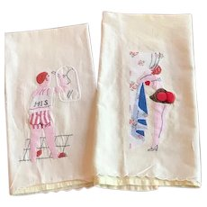 "Pair of ""Naughty"" His/Hers Decorative Guest Towels"