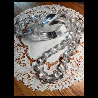 Mid-Century Clear Lucite Necklace and Clamper Bracelet