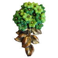 Miriam  Haskell Green Glass Flower Dress Clip