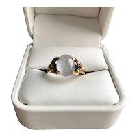 18K Mid-Century Moonstone, Sapphire and Diamond Ring
