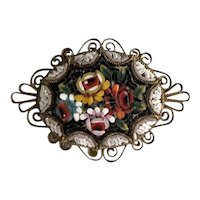 Victorian/Edwardian Italian Micro Mosaic Brooch