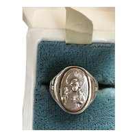 Sterling Religious Ring Madonna and Christ