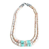 Early Pawn Silver Bead Turquoise Heishi Necklace