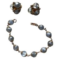 Napier Blue Art Glass Bracelet/Earrings Set