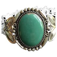 Large Carico Lake Turquoise and Sterling Cuff