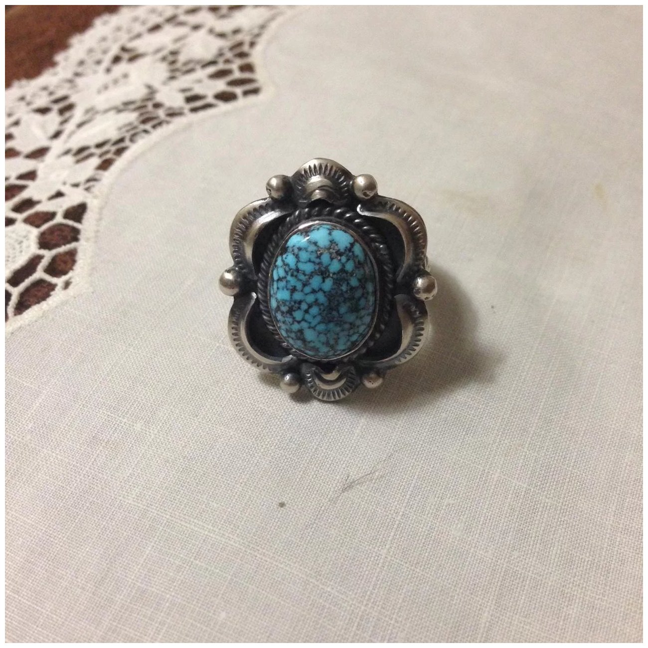 Details about  /Navajo Handmade Old Style Sterling Silver Kingman Web Ring Gilbert Tom