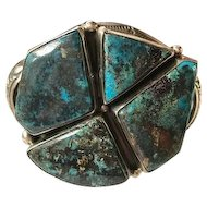 Navajo Rare Candelaria Turquoise Sterling Cuff Bracelet