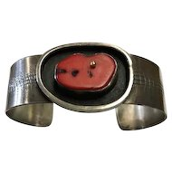 Navajo Style Sterling and  Coral Cuff Artist Signed