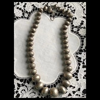 Early Navajo Handmade Silver String of Pearls Necklace
