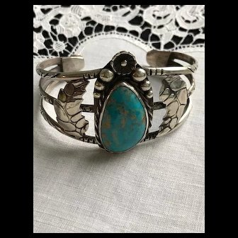 Artist Signed Navajo Style Sterling Turquoise Cuff Bracelet