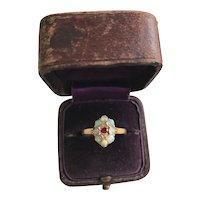 18K Victorian Opal & Ruby/ Diamond Ring