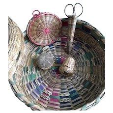 Passamaquoddy Native American Sewing Basket Set