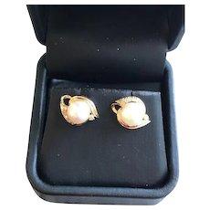 14K Gold Pearl and Diamond Vintage Estate Earrings