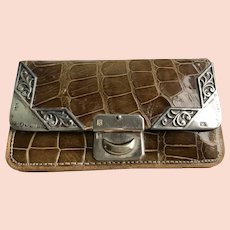 Victorian Leather Purse with Sterling Corners Dated 1901
