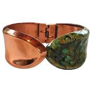 Renoir Matisse  Copper Enameled Clamper Cuff 1950's