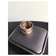 14K Gold Wide Repousse Band Ring