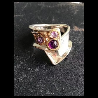14K Gold Sterling Ring with Three Amethysts