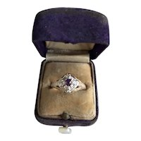 14K Art Deco Amethyst and Diamond Ring