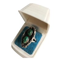 Sterling Turquoise Pawn Ring Navajo Style