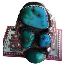 Vintage Artist Signed Navajo Sterling Turquoise Ring