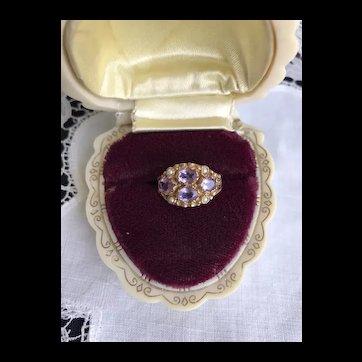 Art Deco Amethyst Seed Pearl Ring Birmingham