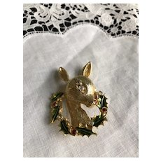 Vintage Rudolph Christmas Pin Signed