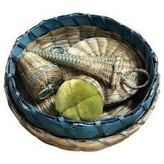 Art Deco Era Passamaquoddy Sewing basket Set