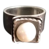 Silpada Sterling Pearl Ring Retired