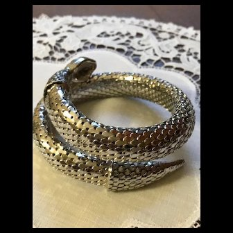 Whiting and Davis Silver Double Wrap Snake Bracelet