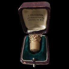 14K Ketcham & McDougall Thimble w'Original Case Book Piece