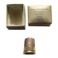 14K Carter Gough Thimble with  Original Box