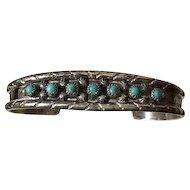 Vintage Navajo Artist Signed Sterling Turquoise Cuff Bracelet