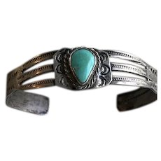 Early Fred Harvey Era Sterling Turquoise Cuff