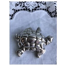 Large Sterling Airess Turtle Brooch