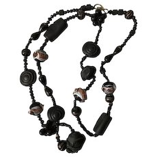 Victorian Murano Glass and Vulcanite/Ebonite necklace