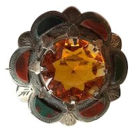 Victorian Scottish Sterling Cairngorm and Agate Pebble Brooch