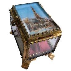 French Ormolu Eglomise Jewelry Vitrine/Casket