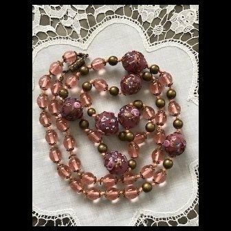 Art Deco Wedding Cake Murano Art Glass Necklace